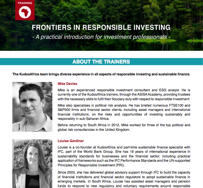 Frontiers in Responsible Investing workshop brochure